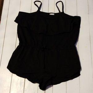 Black swimsuit romper, cover-up